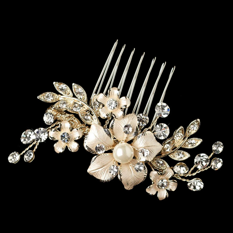 Light Gold Rhinestone and Pearl Floral Wedding Comb