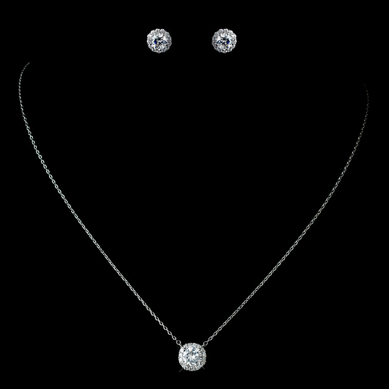 4 Sets Petite CZ Pave Halo Pendant and Earring Bridesmaid Jewelry