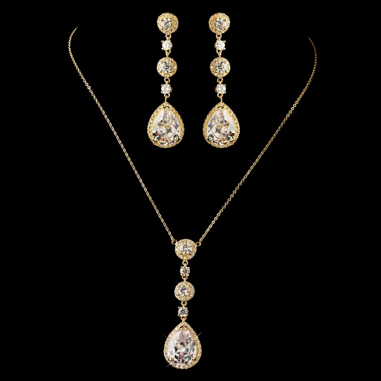 Glamorous Gold CZ Pendant Wedding Jewelry Set