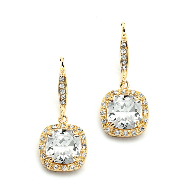 CZ Cushion Cut Wedding and Prom Earrings in 14K Gold