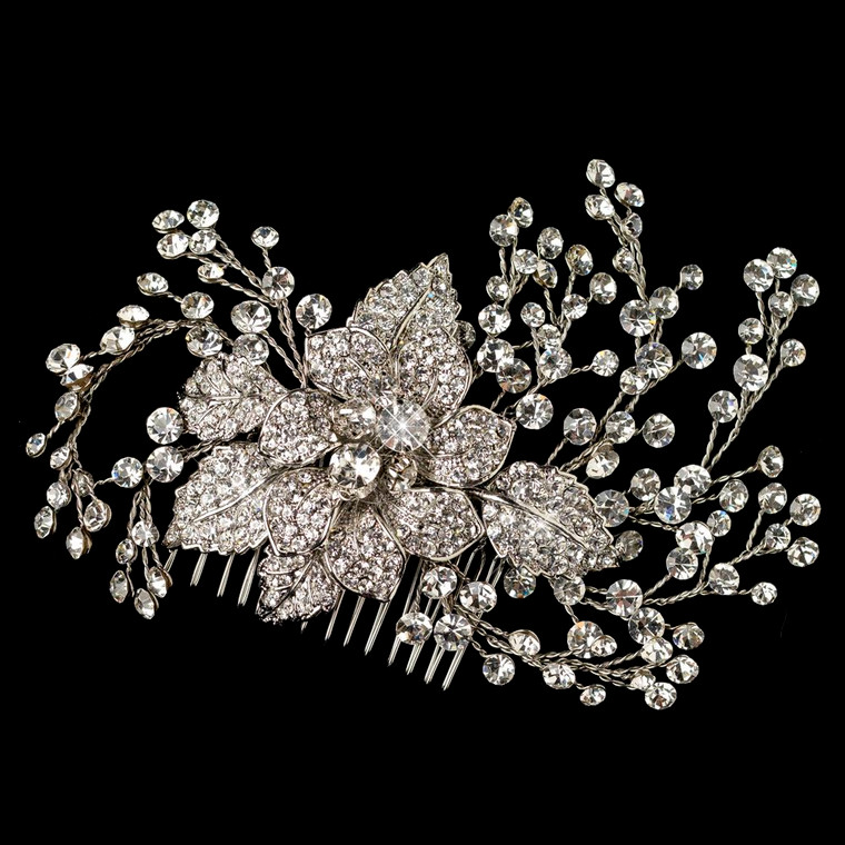 Couture Rhinestone Flower and Vine Wedding Comb
