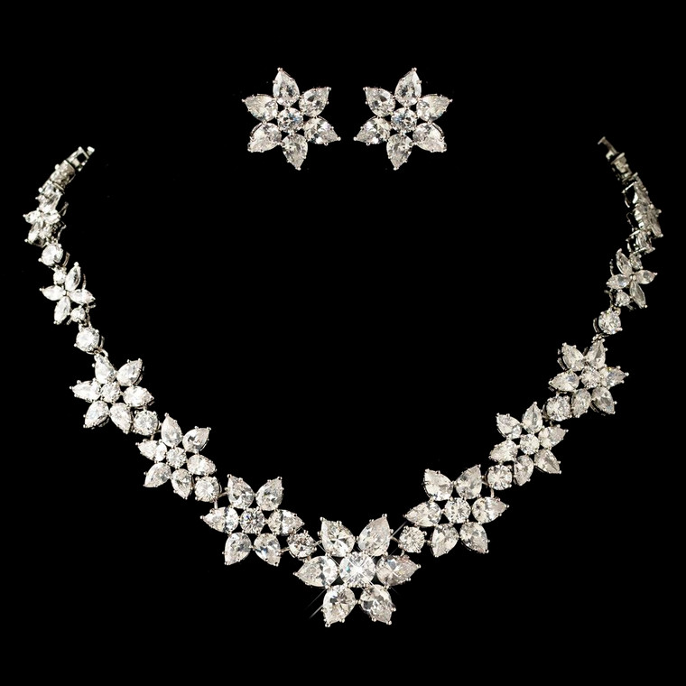 CZ Rhodium Plated Snowflake or Flower Wedding Jewelry Set