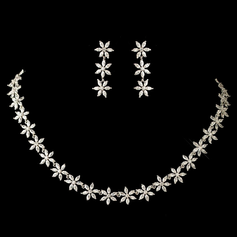 Floral Marquise CZ Rhodium Plated Wedding Jewelry Set