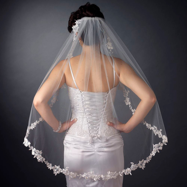 Fingertip Length Wedding Veil with Beaded Lace Edge