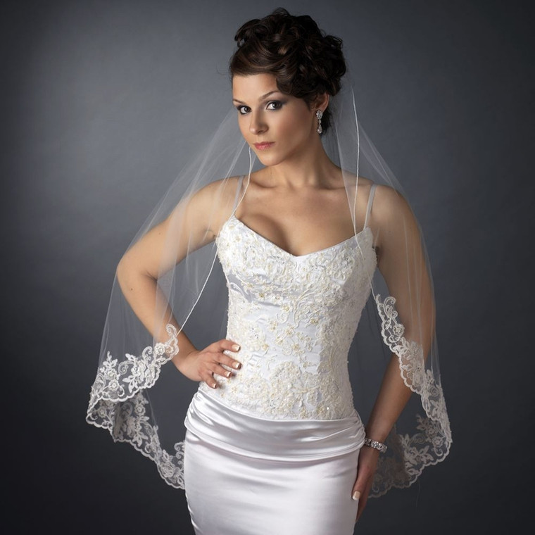 Exquisite Fingertip Length Wedding Veil with Beaded Floral Embroidery