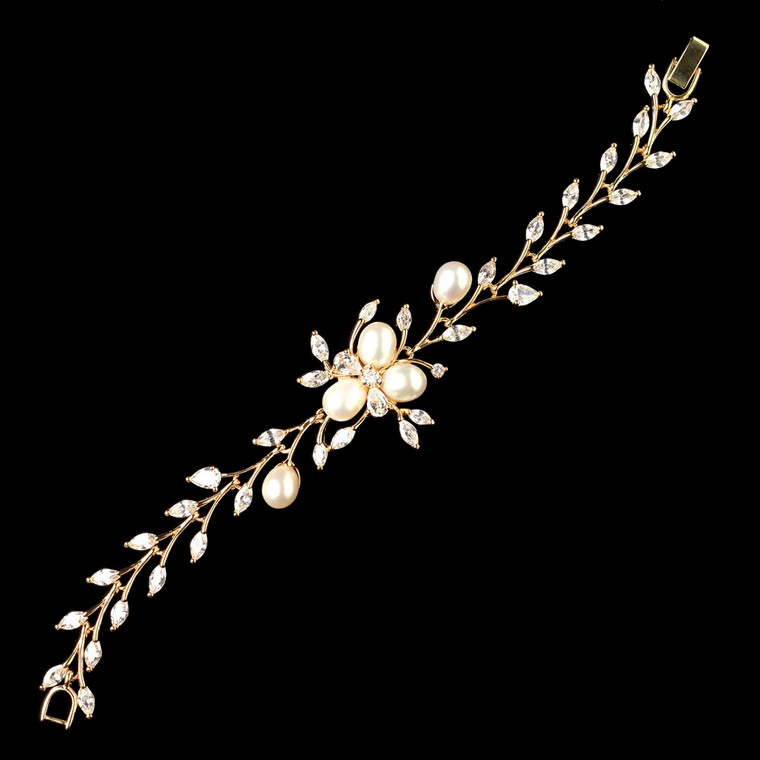 Gold Plated CZ and Freshwater Pearl Wedding Bracelet - sale!