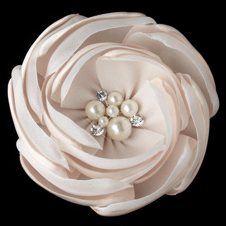 Rum Pink Flower Clip with Pearl and Rhinestone Center