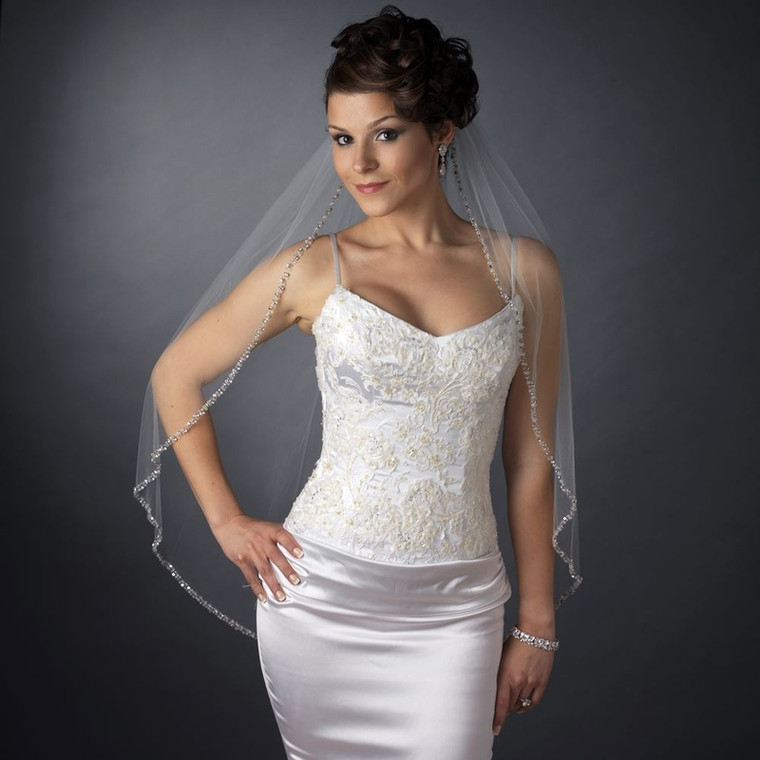 Crystal Beaded Fingertip Length Wedding Veil