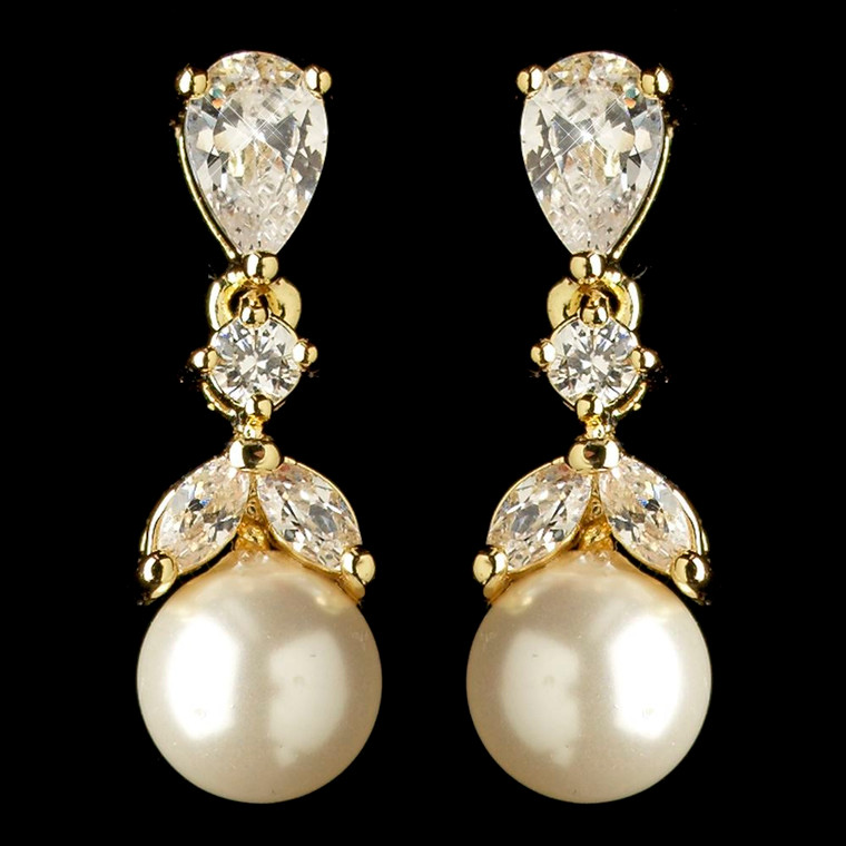 Gold Plated CZ and Diamond White Pearl Wedding Earrings