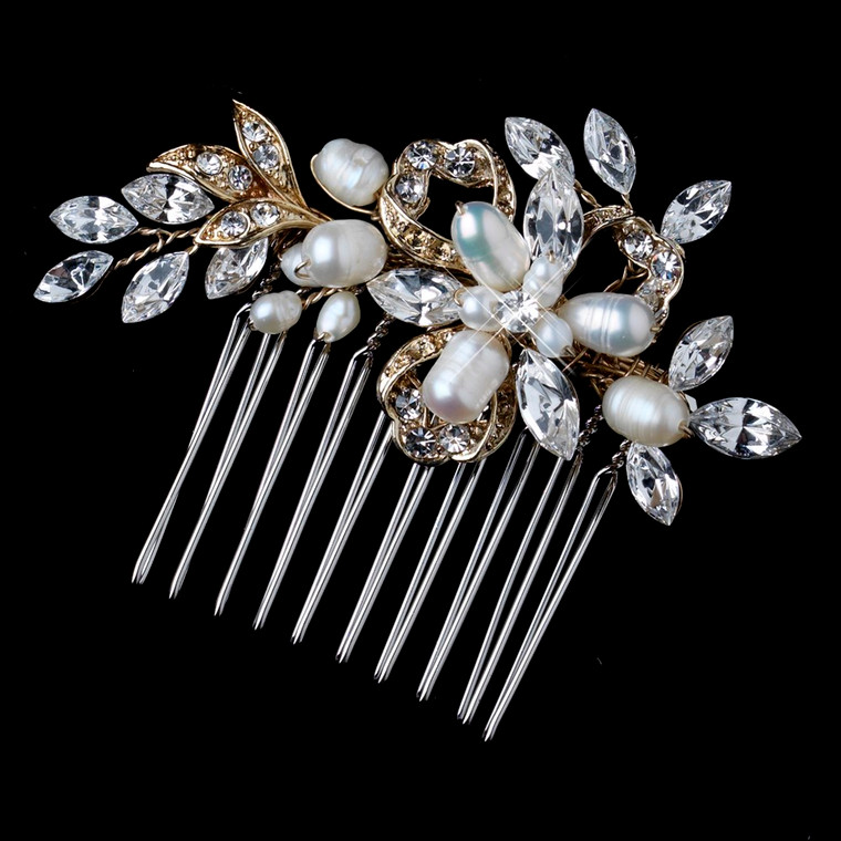 Light Gold Freshwater Pearl and Rhinestone Wedding Comb