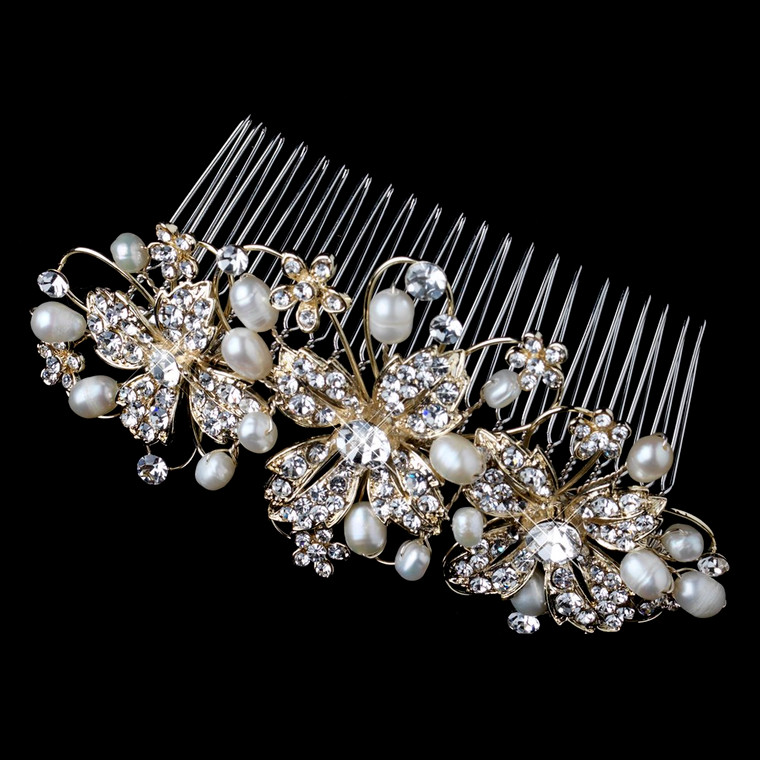 Light Gold Floral Freshwater Pearl and Rhinestone Wedding Comb