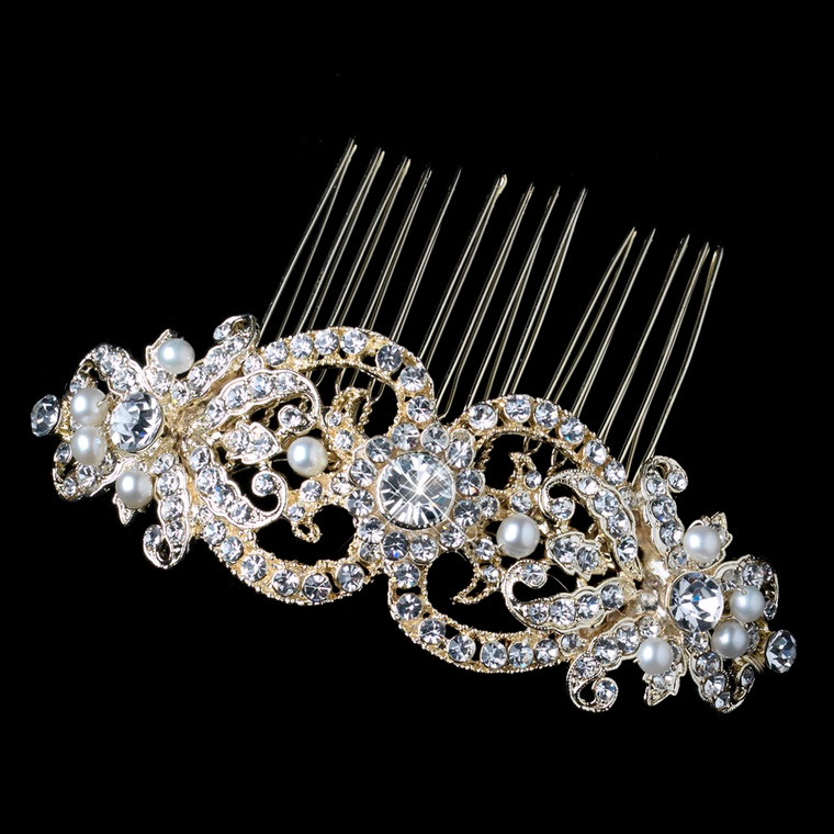 Light Gold Plated Freshwater Pearl and Rhinestone Wedding Comb