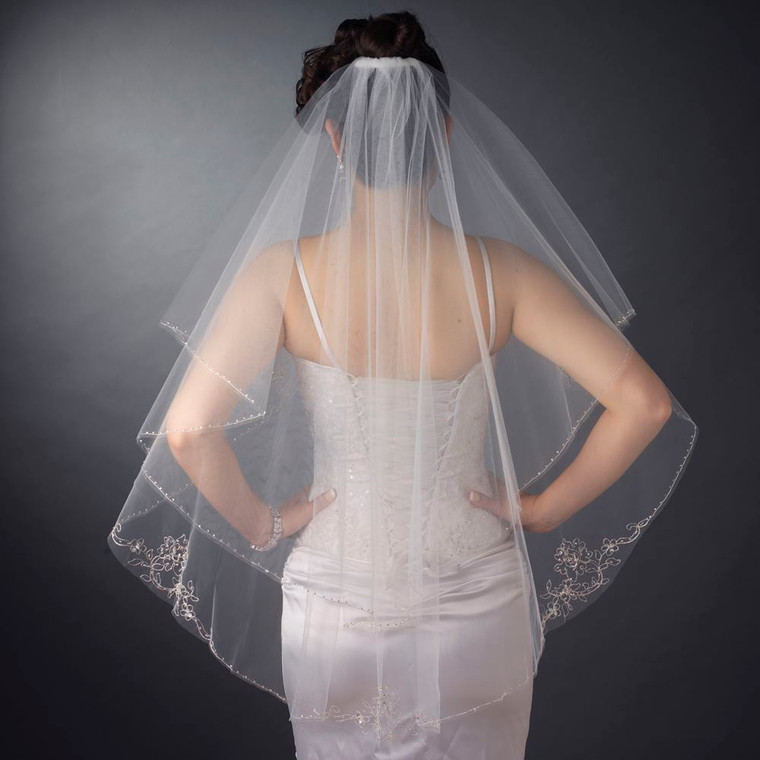 Two Layer Beaded Embroidery Edge Fingertip Length Wedding Veil