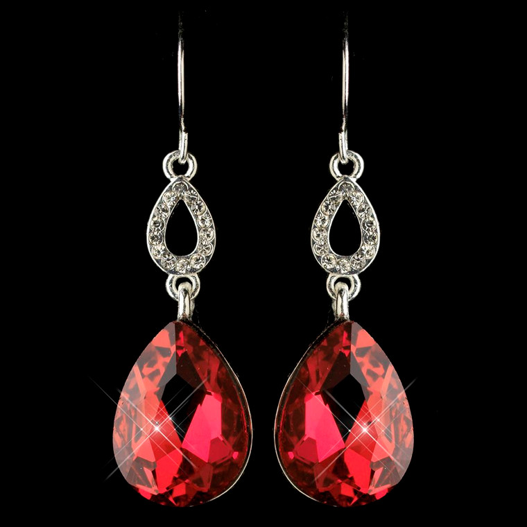 5 Boxed Sets Red Crystal Teardrop Bridesmaid Earrings