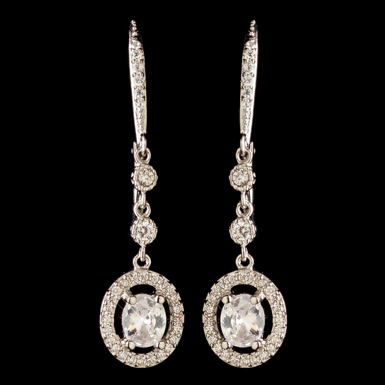 CZ Crystal Leverback Dangle Wedding And Formal Earrings