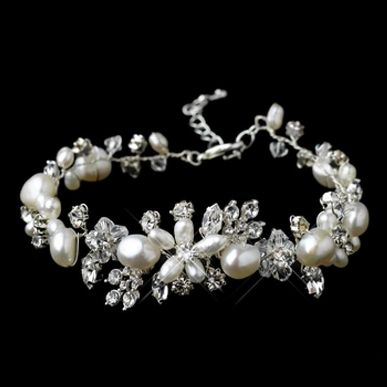 Freshwater Pearl and Crystal Floral Wedding Bracelet