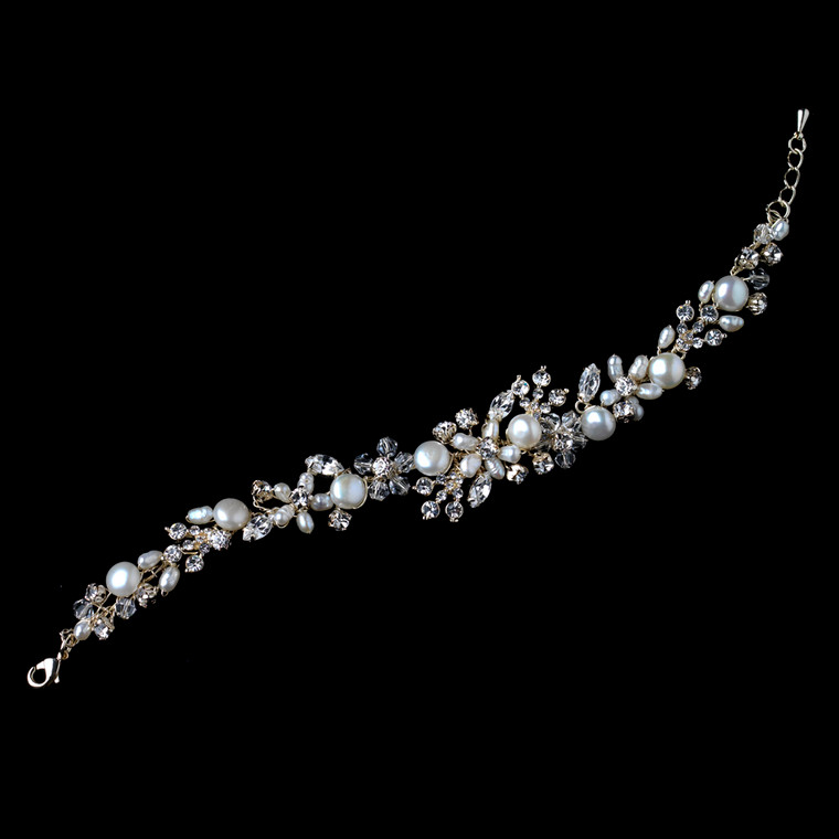 Gold Plated Freshwater Pearl and Crystal Floral Wedding Bracelet