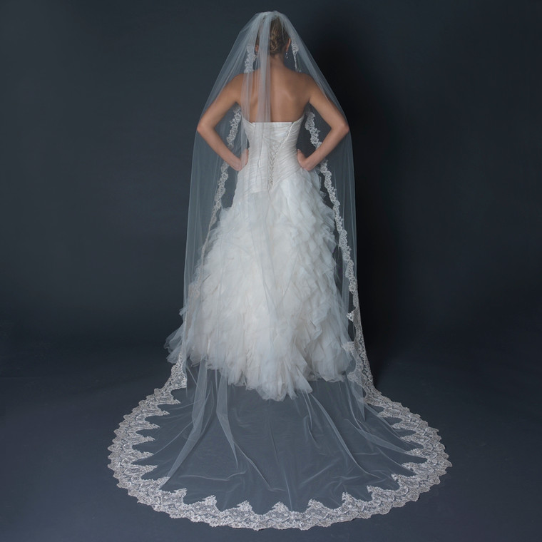 Cathedral Length Wedding Veil with Beaded Silver Lace Embroidery