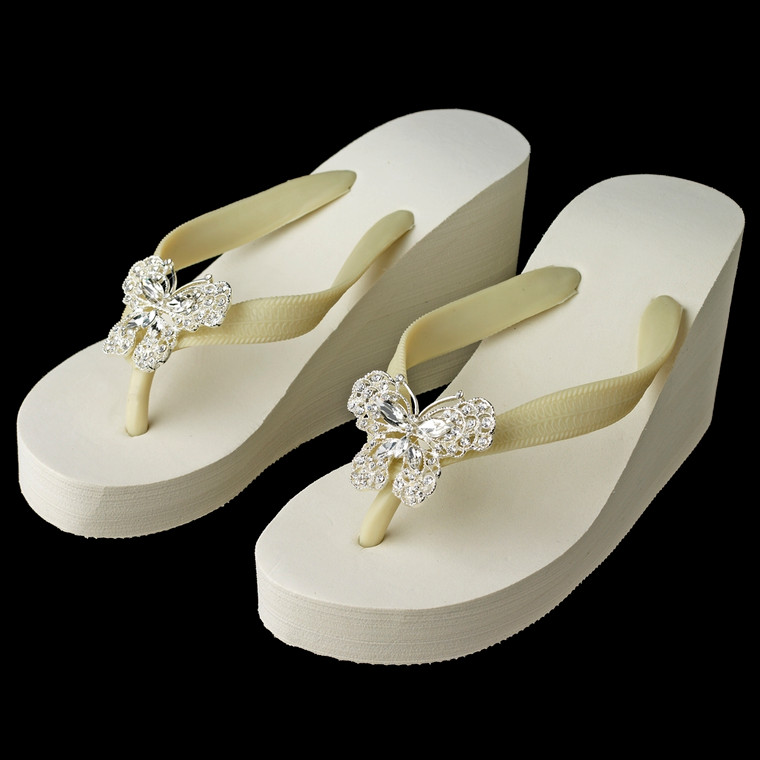 High Wedge Bridal Flip Flops with Rhinestone Butterfly Accents