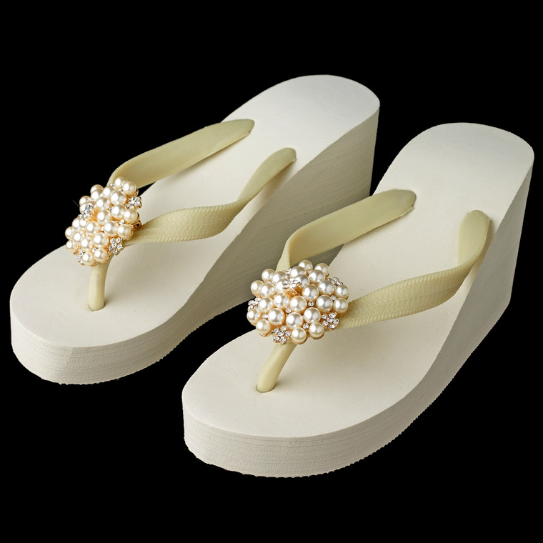 High Wedge Bridal Flip Flops with Gold Rhinestone and Pearl Accents