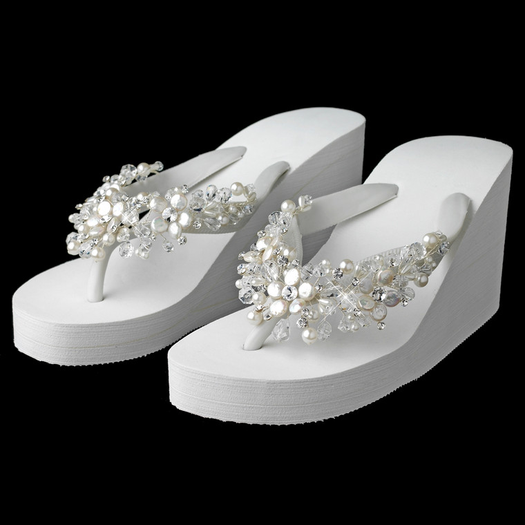 High Wedge Bridal Flip Flops with Crystal and Coin Pearl Accents