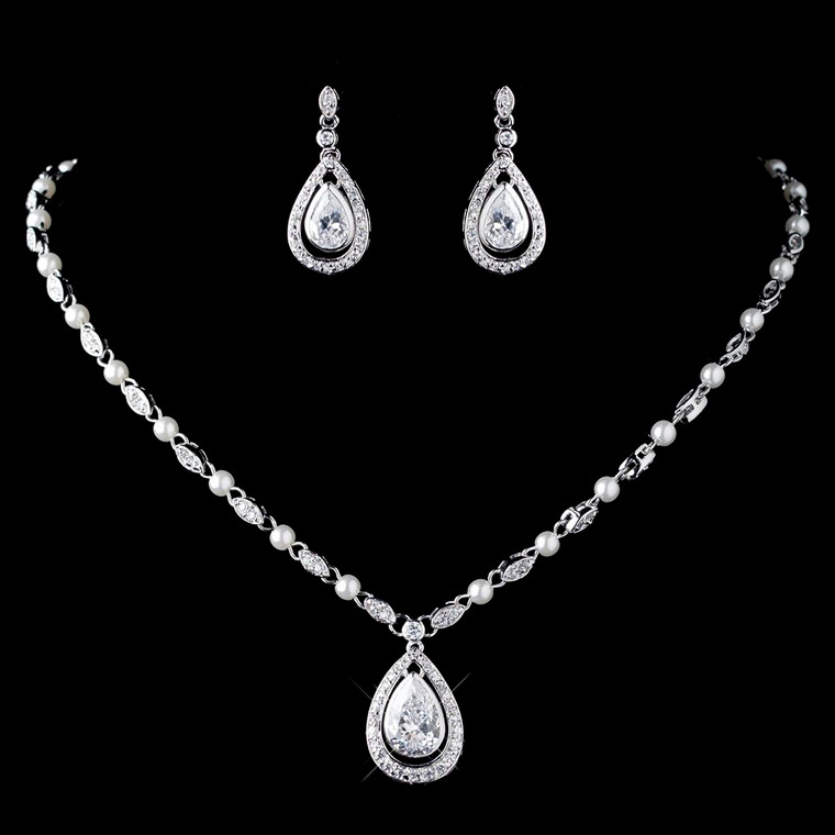 Pearl and CZ Teardrop Pendant Necklace Wedding Jewelry Set