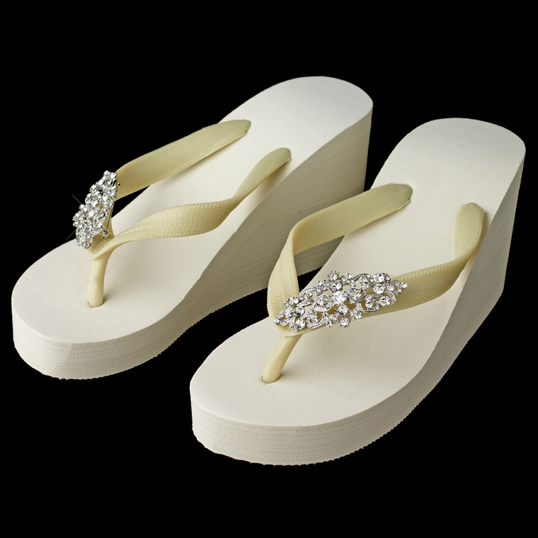 High Wedge Bridal Flip Flops with Rhinestone Art Deco Accents
