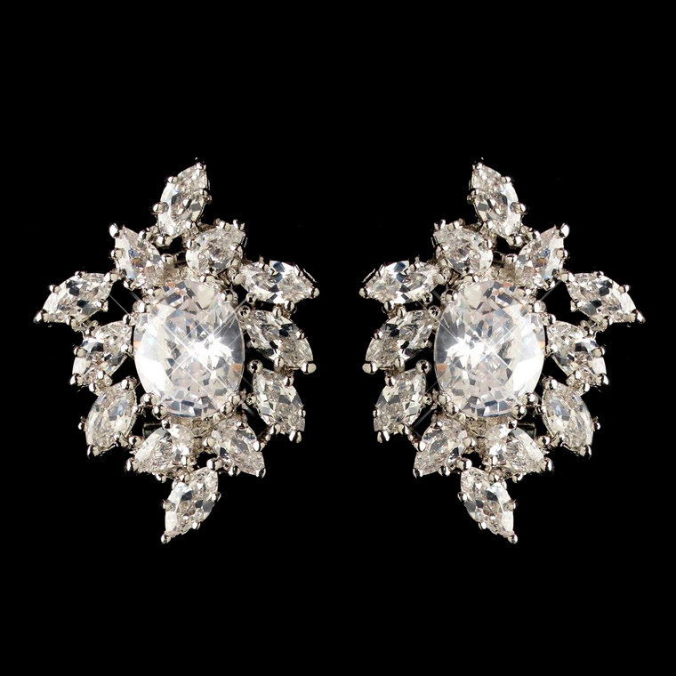 Oval and Marquise CZ Cluster Wedding Earrings