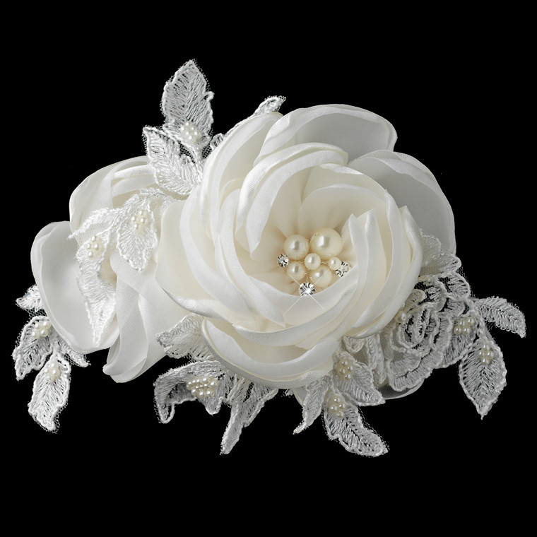 Satin Rose and Lace Hair Clip with Pearl and Rhinestone Accents