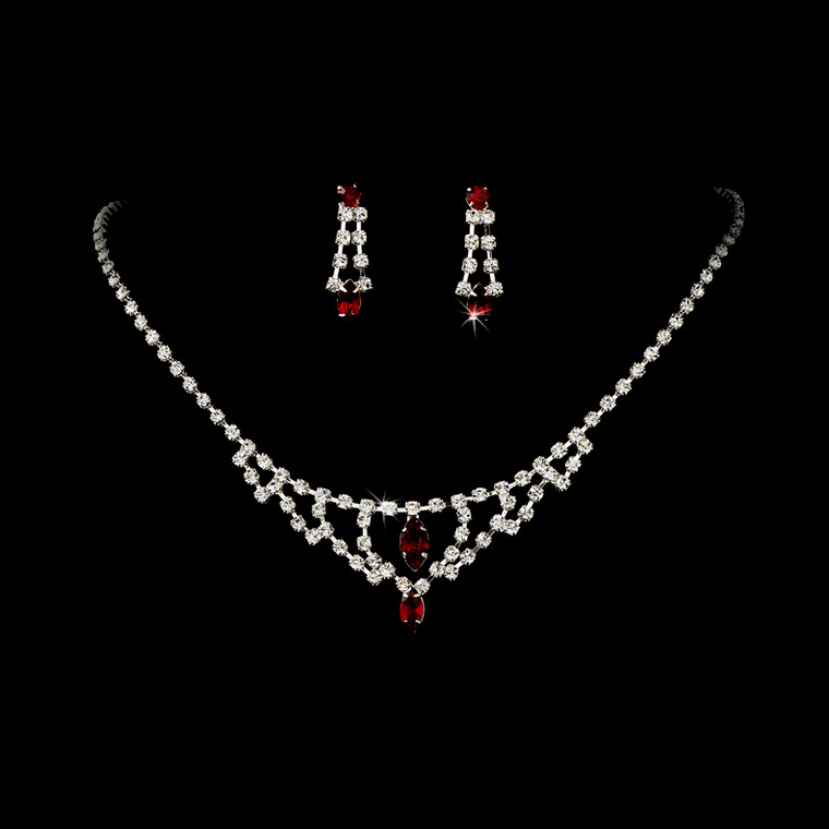 5 Sets Red and Clear Crystal Drop Bridesmaid Jewelry - sale!