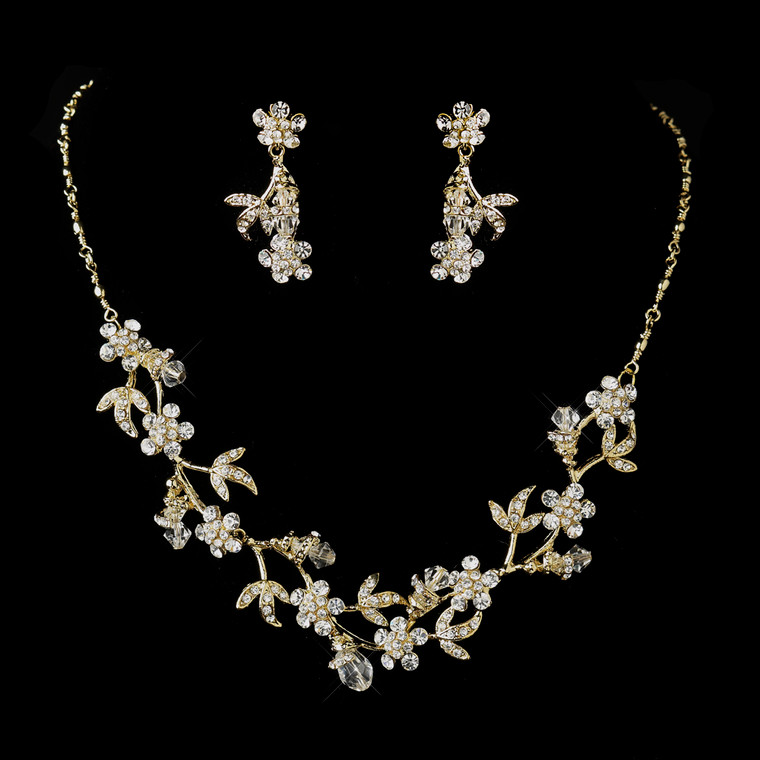 Gold Plated Crystal Floral Vine Bridal Jewelry Set