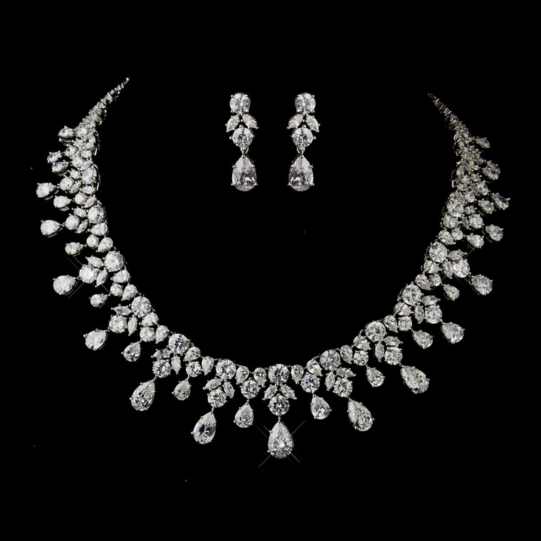 Glamorous CZ Wedding Jewelry Set ne8758