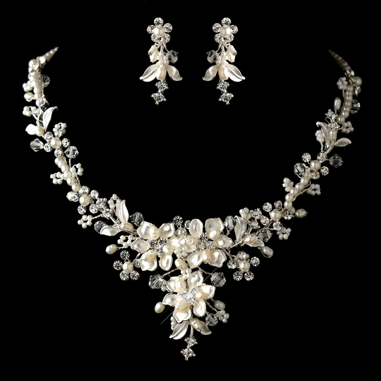 Floral Pearl and Rhinestone Wedding Jewelry Set