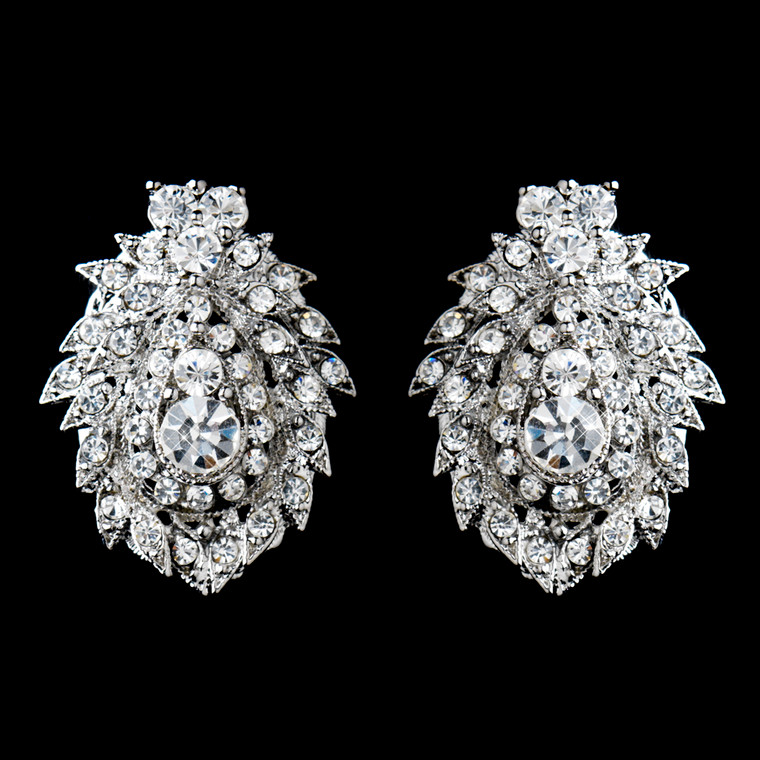 Sparkling Rhinestone Clip On Wedding Earrings
