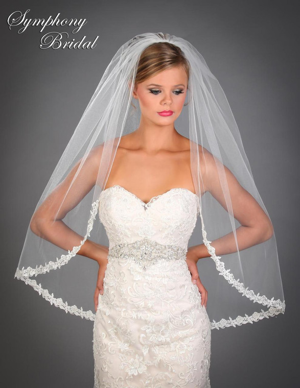 Lace  Edge Wedding Veil 6515VL by Symphony Bridal