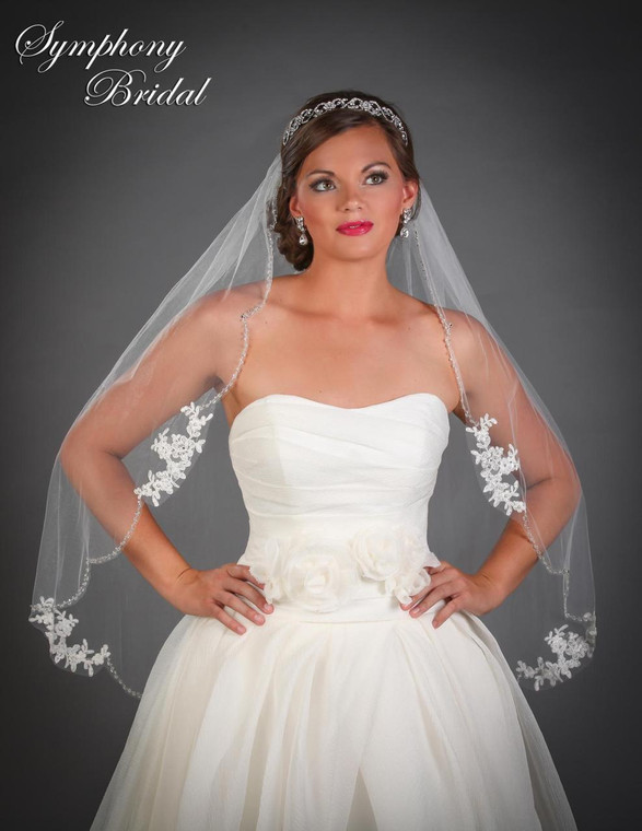Beaded Wedding Veil 6529VL with Lace Motifs by Symphony Bridal