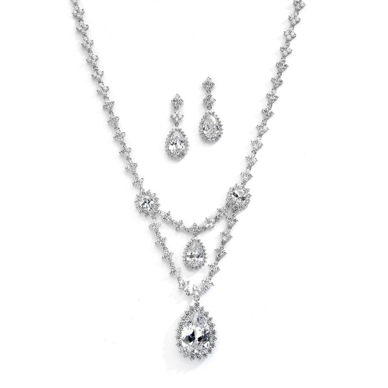 Luxurious CZ Statement Wedding Jewelry Set by Mariell