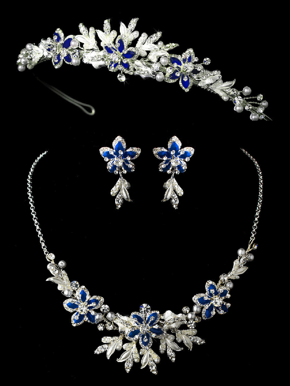 Sapphire Blue Floral Wedding Tiara and Matching Jewelry Set