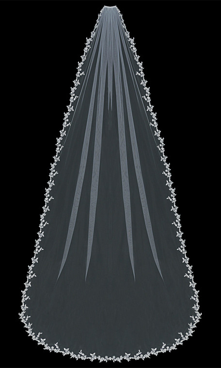 Beaded Lace Edge Cathedral Length Wedding Veil enVogue V1392C