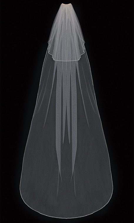Two Tier Cathedral Wedding Veil with Beaded Edge enVogue V303C
