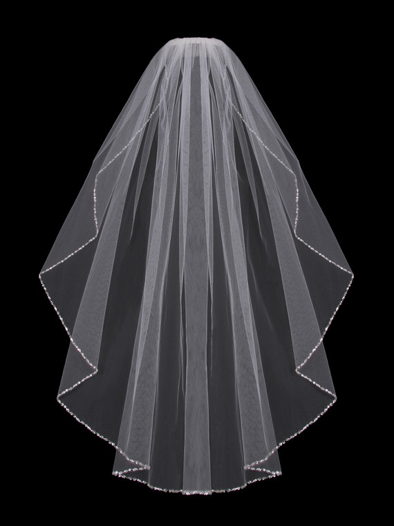 Beaded Fingertip Length Wedding Veil enVogue V702SF