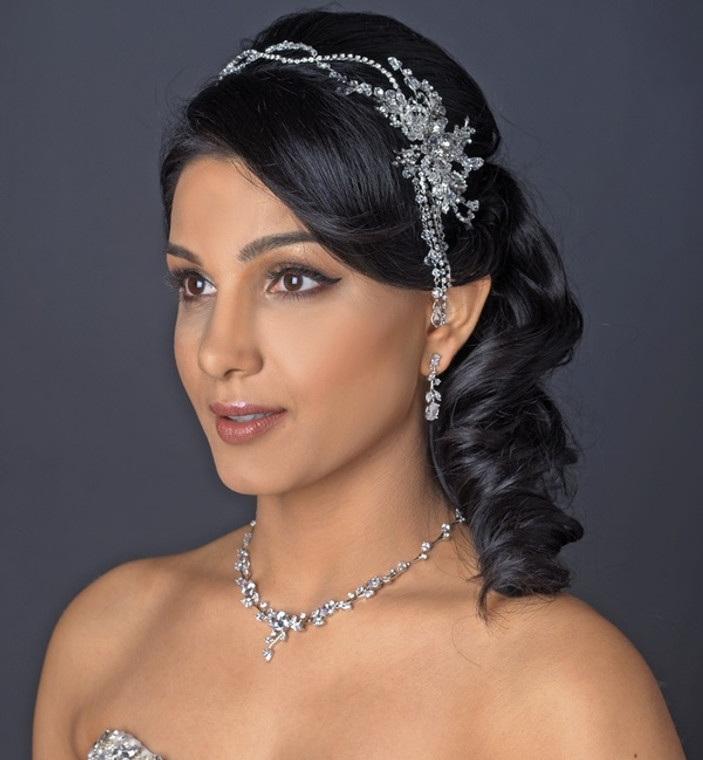 Crystal and Rhinestone Dangle Hair Vine Wedding Headband
