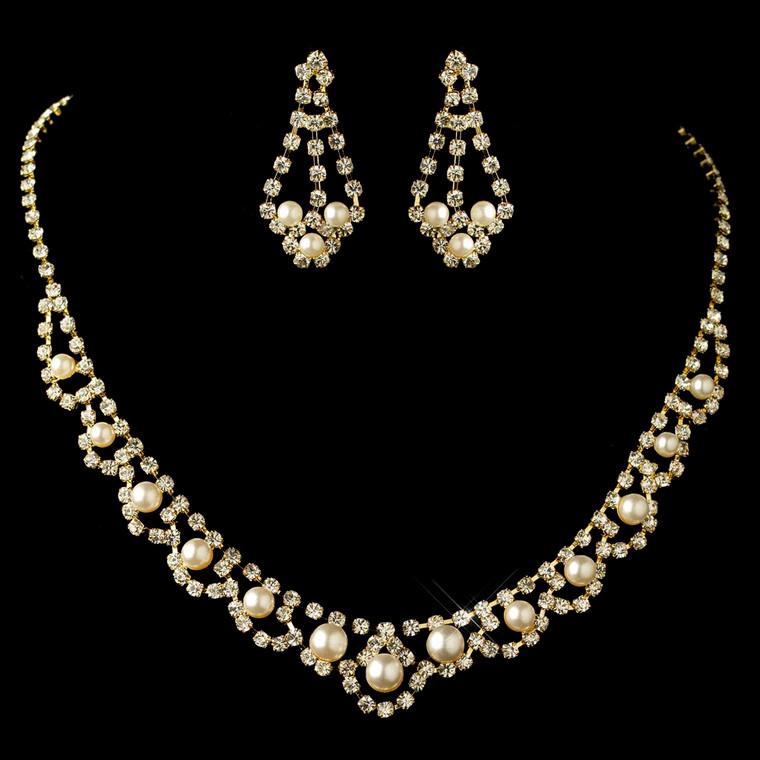 Gold Plated Ivory Pearl and Rhinestone Wedding Jewelry Set