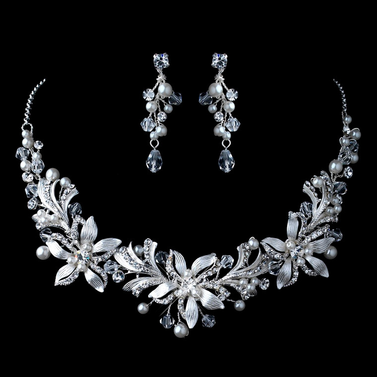 Floral Pearl and Crystal Wedding Jewelry Set