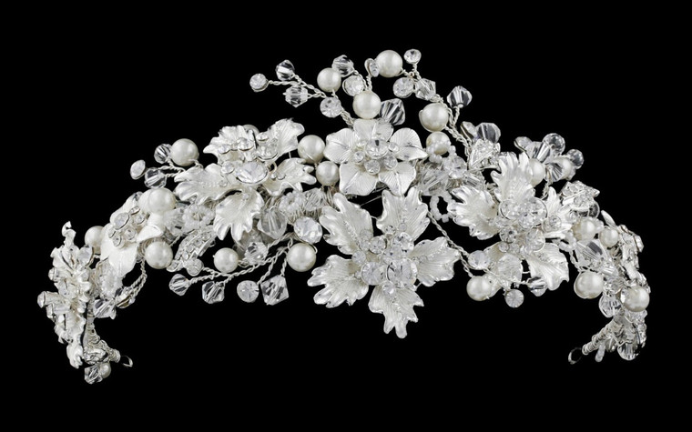 Elaborate Crystal and Diamond White Pearl Floral Wedding Tiara