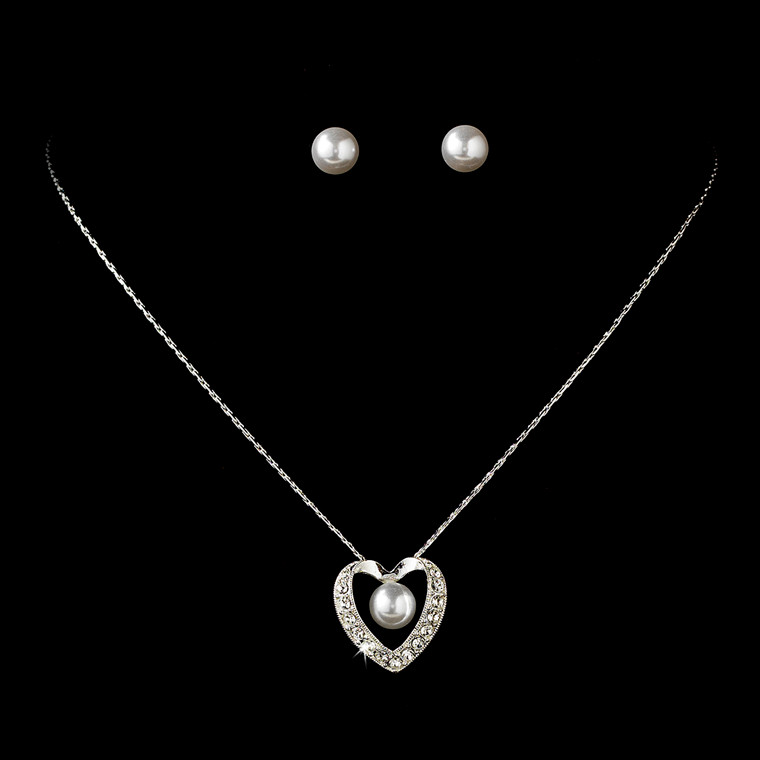 Heart Pendant and White Pearl Bridesmaid Jewelry