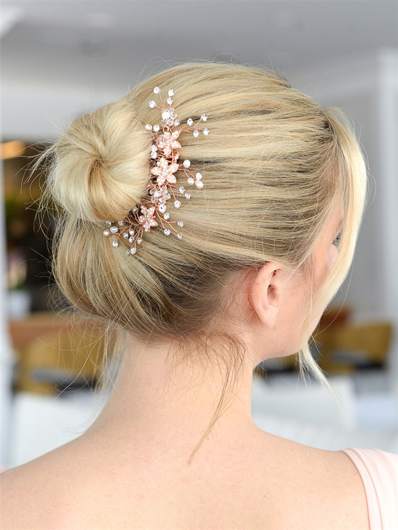 Rose Gold Crystal and Pearl Vine Bridal Comb