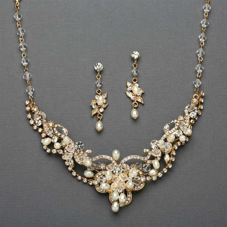 Gold Freshwater Pearl and Crystal Wedding Jewelry Mariell - Sale!