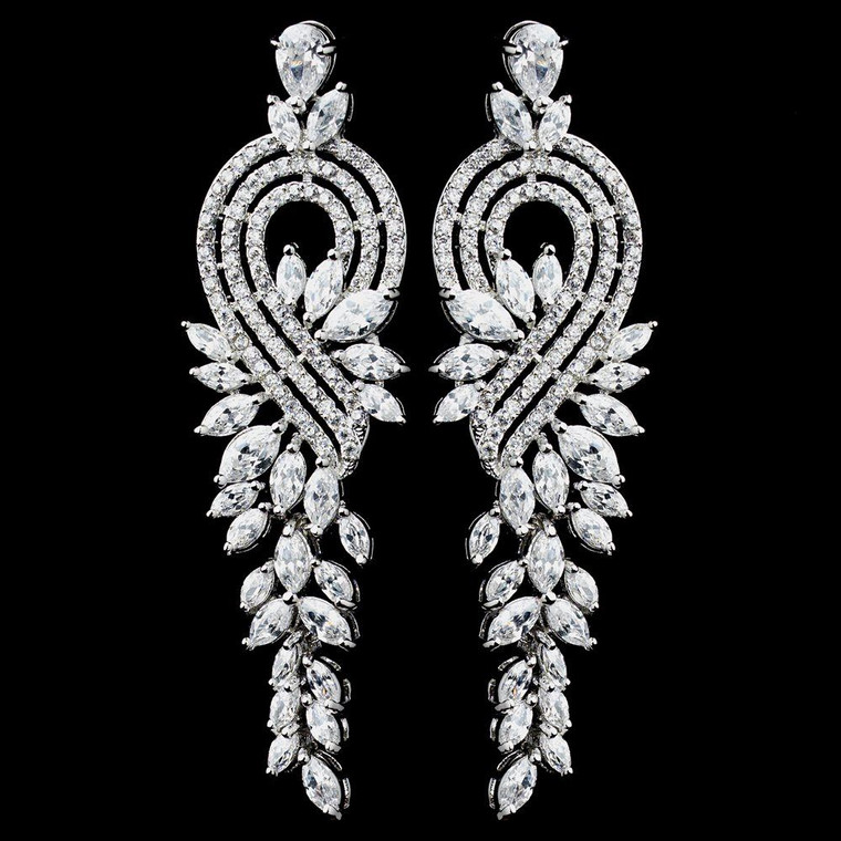Glamorous Marquise CZ Wedding and Formal Earrings