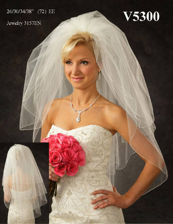 Full Four Layer Fingertip Length Wedding Veil V5300